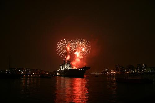 HMS Illustrious & fireworks
