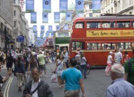 Regent Street filled with vintage buses