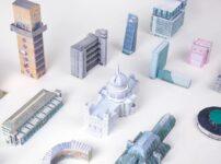 Cardboard models of London's top buildings