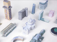 Cardboard models of London buildings